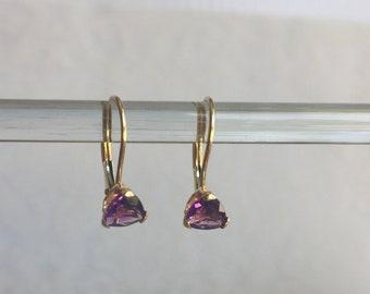 AMETHYST Trillion Cut 14K gold leaver back earrings