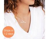 Big Initial Necklace, Alphabet Necklace, Letter Necklace, Sideways Initial Necklace, Gift for Girlfriend, Gold filled, Sterling Silver, Rose