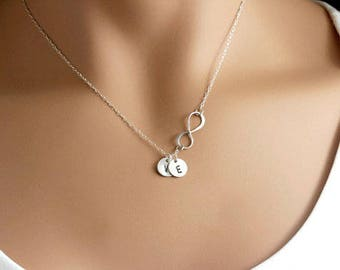 f25662972 Mothers necklace, Personalized Infinity Necklace with discs, Sterling  Silver Mothers day gift for Grandma, Infinity family necklace, Letter