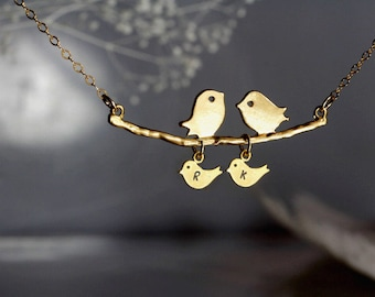 Personalized initial a kissing birds on branch  gold necklace.Mother Gift,