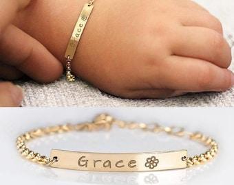 Girls Ladies Beaded Chain personalised name bracelet birthday gift party bag