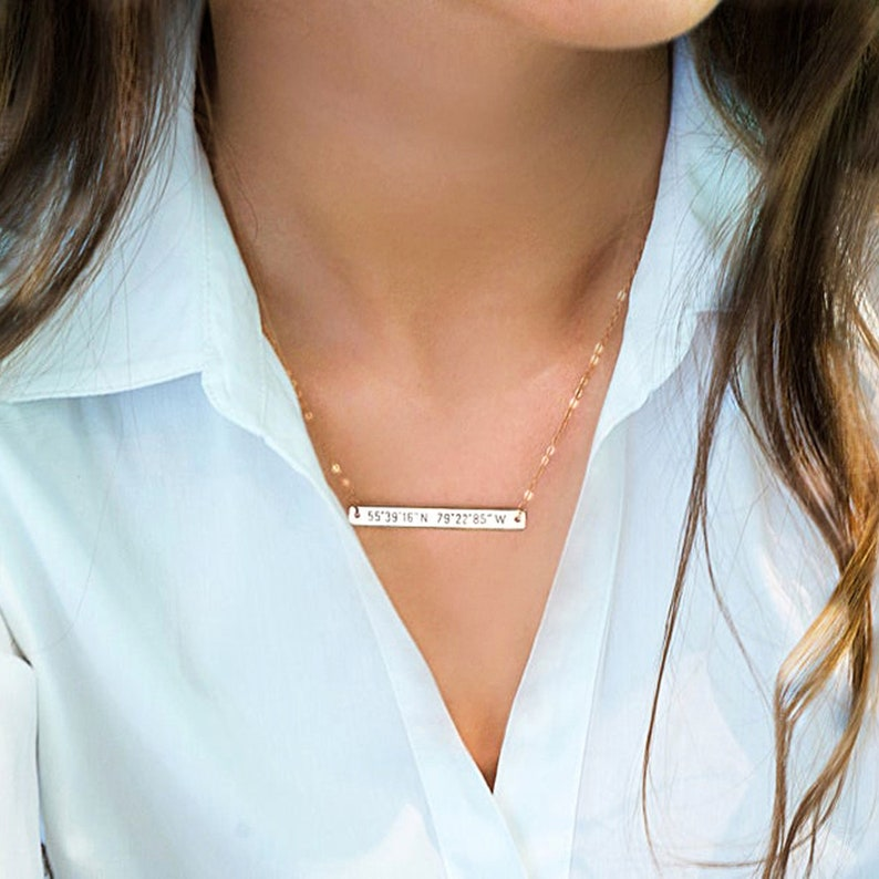 Bar necklace Personalized Initial necklace Engraved Custom image 0