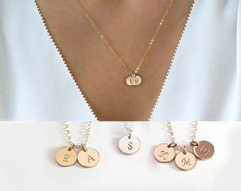Custom Initial necklace, Personalized Disc, Letter Tag Necklace for Mother, Kids names necklace Family Grandma necklace Bridesmaids gift