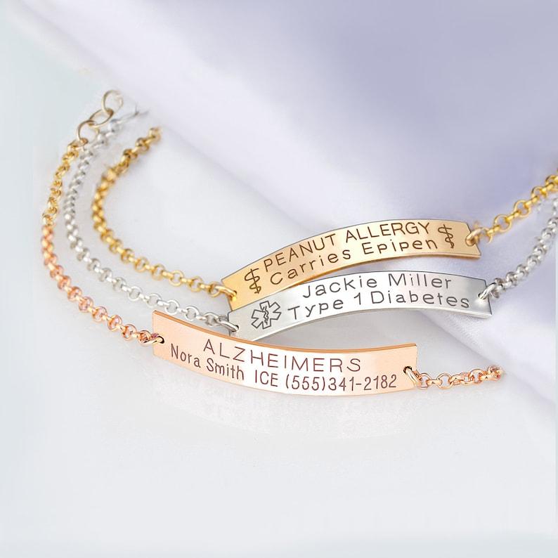 divers design élégant et gracieux images officielles Medical ID Bracelet Women, Personalized Sterling silver, 14K Gold filled,  Rose Gold Medical alert bracelets, Medic alert jewelry, Adults