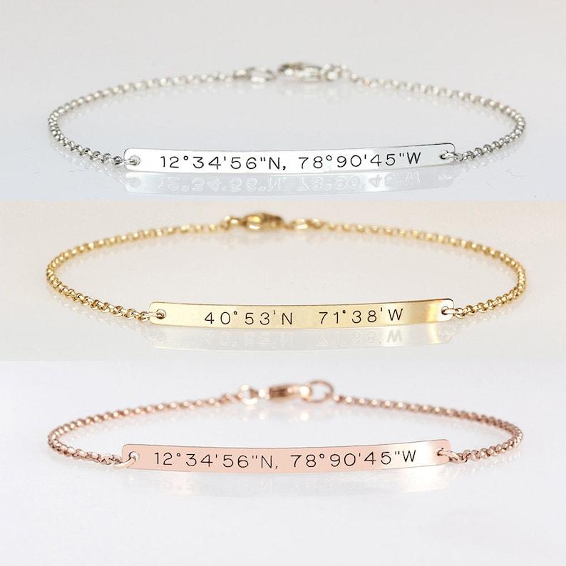 Graduation gift for her Engraved bracelet with coordinates image 0