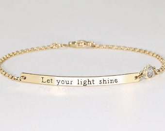 Quote bracelet, Personalized inspirational bracelet, Custom quote cuff bracelet Gold bar bracelet Motivational personalize Bridesmaids gift