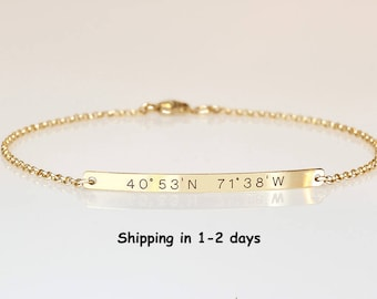 Gold  Bar bracelet, Engraved Roman numerals bracelet, Wedding Date bracelet, Custom name Personalized bracelet, Nameplate Bridesmaids Gift