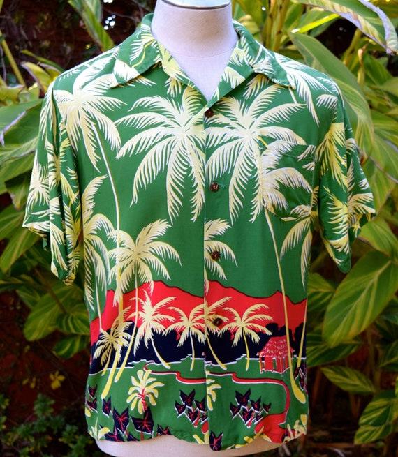 Rare 1950s Rayon Scenic Border Print Hawaiian Shir