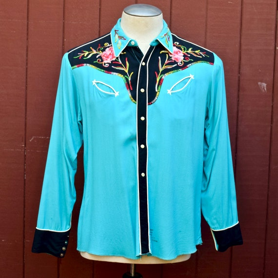 1950s Turquoise And Black Floral Chainstitch Embro