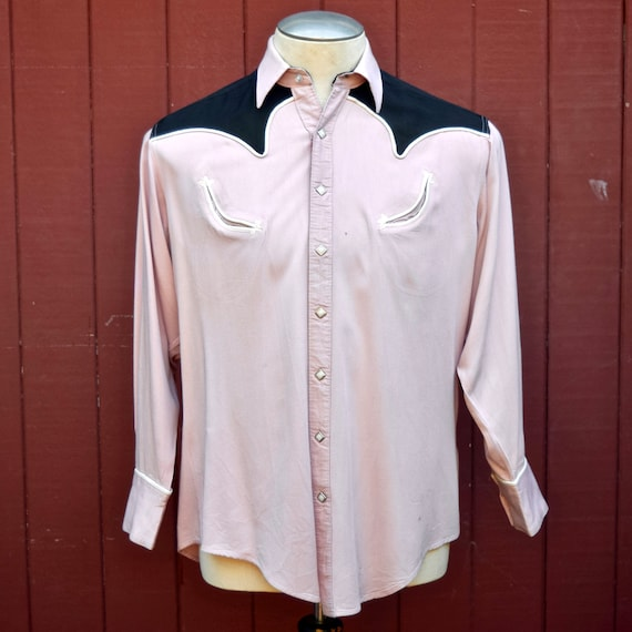 1950s Pink And Black Gabardine Two Tone Western Sh