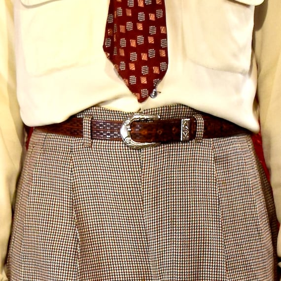 1950s Houndstooth Check Pleated  Hollywood Waist P