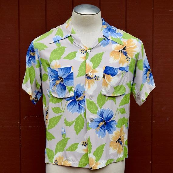 1940s /1950s Cold Rayon Hibiscus Print Hawaiian /