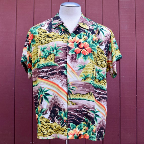 Late 50s Rayon Scenic Print Pali Hawaiian / Aloha