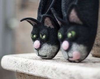 ea644b589bb2 felted black cat slippers MADE to ORDER  HALLOWEEN handmade house shoes   funny animal slippers felt cat slippers ecofriendly gift idea