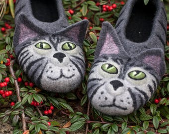 544df5cd3183 felt grey cats shoes animal warm house slippers ecofriendly retirement gift  idea TO ORDER  gray cat slippers for cat lovers animal slippers