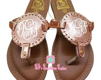 95a1500e51a76 Monogrammed Kid ROSE GOLD Trimming Disc Sandals Personalized Kid Sandals  Little Girl Sandals