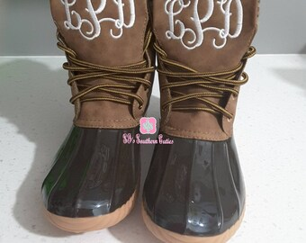 3a7b60d2102 DISCONTINUED Monogrammed Duck Boots- BROWN Personalized Duck Plaid Lined  Boots for Women Snow Boots with Monogram