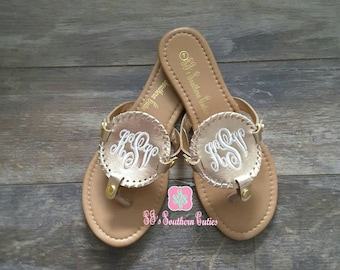687395d966dac Monogrammed Champagne Gold Disk Sandals Personalized Disc