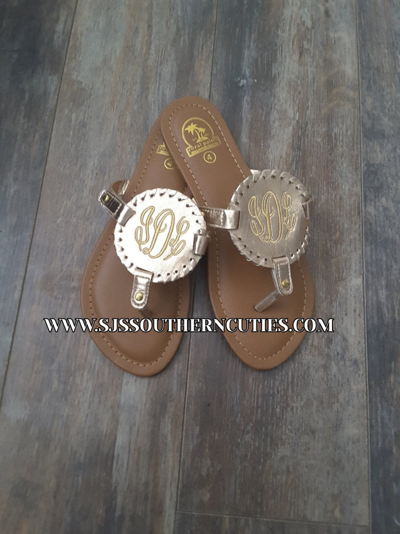 965e247e6750b Monogrammed Kid CHAMPAGNE GOLD Trimming Disc Sandals Personalized Kid  Sandals Little Girl Sandals