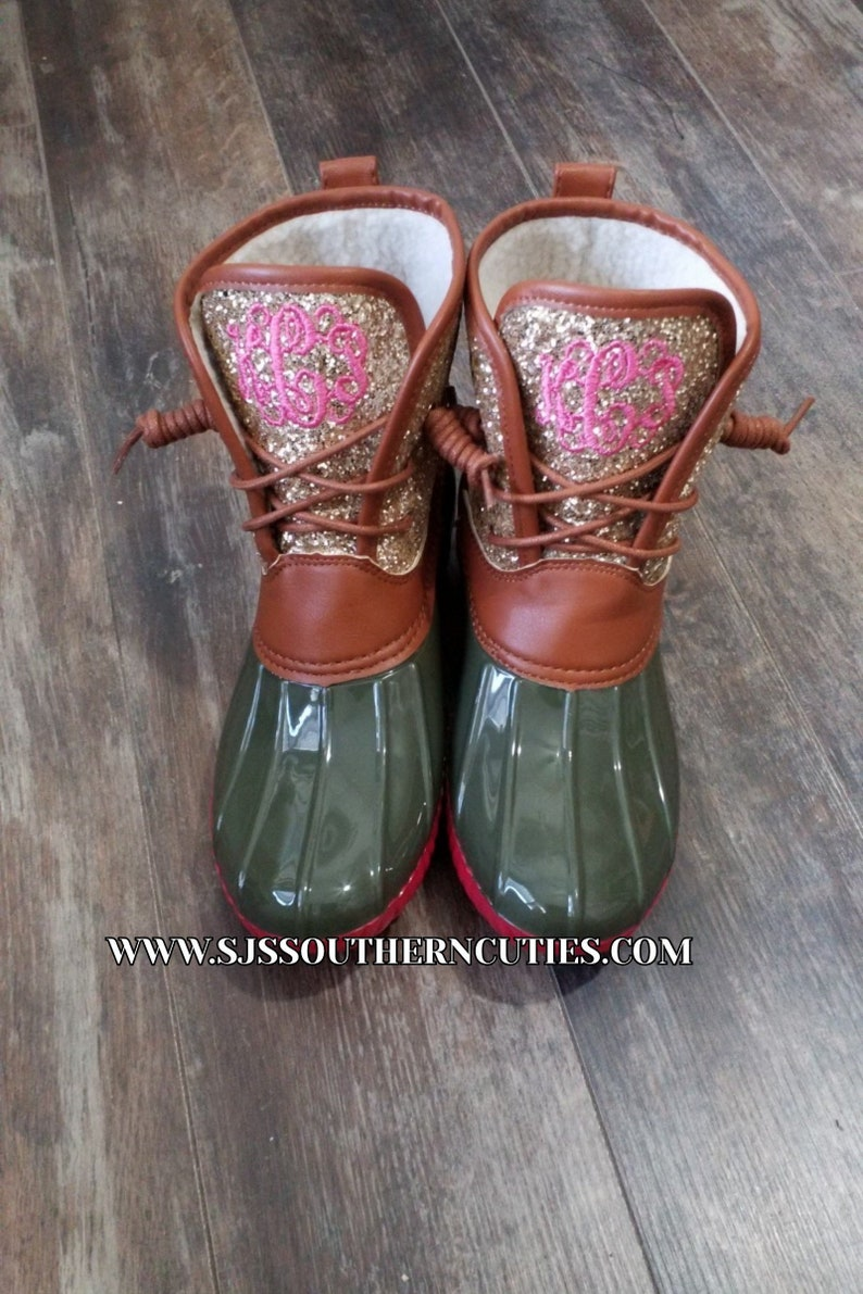 3d1e030208b0 On Sale Monogrammed Glitter Duck Boots Personalized Duck Plaid