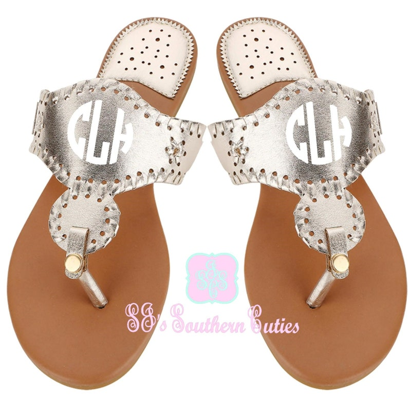 2061313f23215 Monogrammed Champagne Gold Stella Sandals, Personalized Disc Sandals