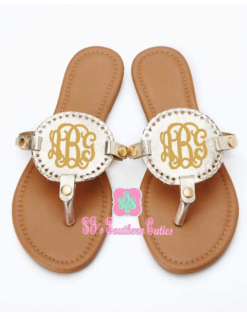 177b8c5e0c017 Monogrammed Champagne Gold Disk Sandals, Personalized Disc Sandals