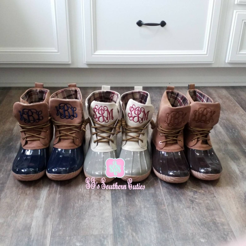 4df1313cc3e5a On Sale Monogrammed Duck Boots Personalized Duck Plaid Lined Boots for  Women Snow Boots Monogram Duck Boots RUN SMALL