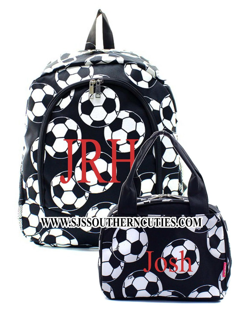 SOCCER Kid Personalized Backpack and Lunch bag Monogrammed Backpack and Lunchbox