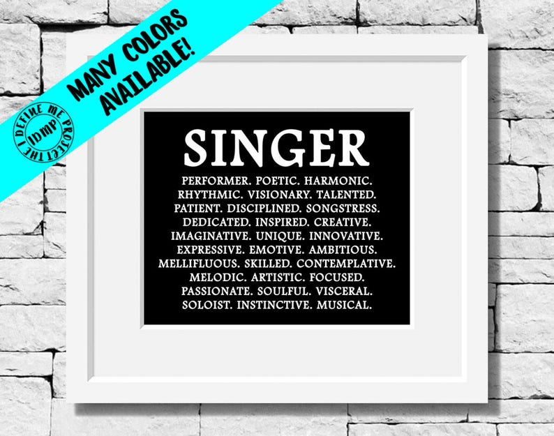 Singer Gifts Singer Quotes Musician Definition Music Etsy