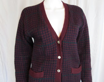 Vintage 80s Breeches Wool Herringbone Cardigan with Pockets Preppy S