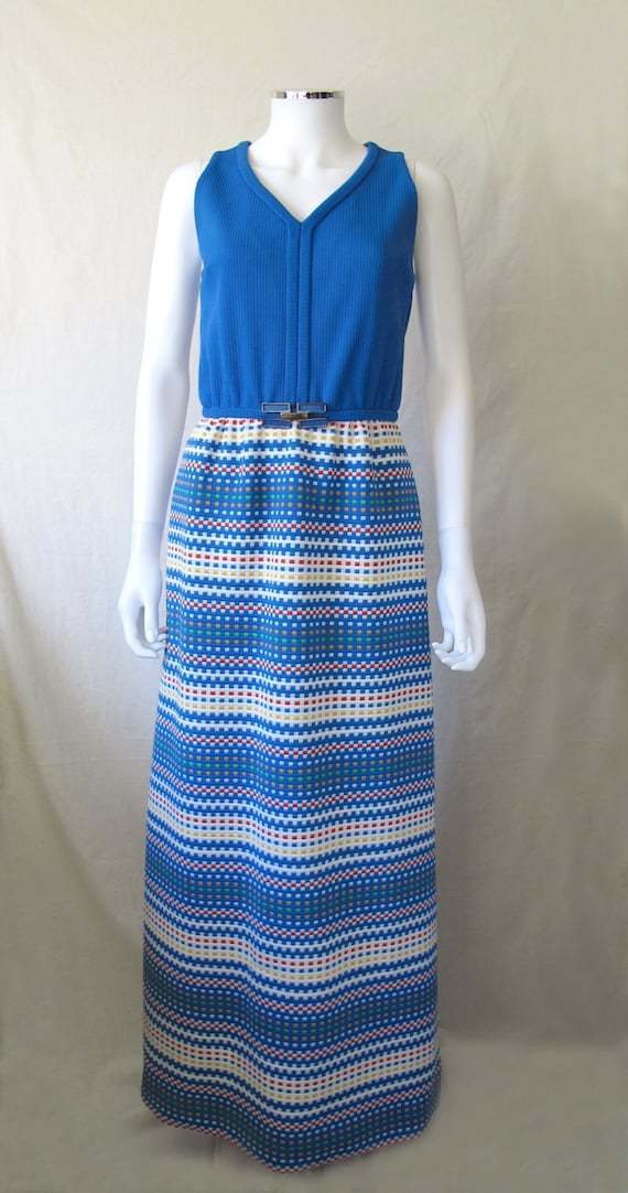 Vintage 60s/70s Blue Pixel Maxi Dress by Ruth Norm