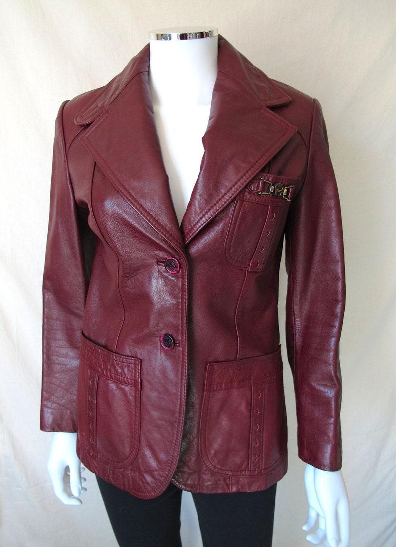 b1b97309c Vintage 70s Leather Jacket by Etienne Aigner Oxblood Burgundy