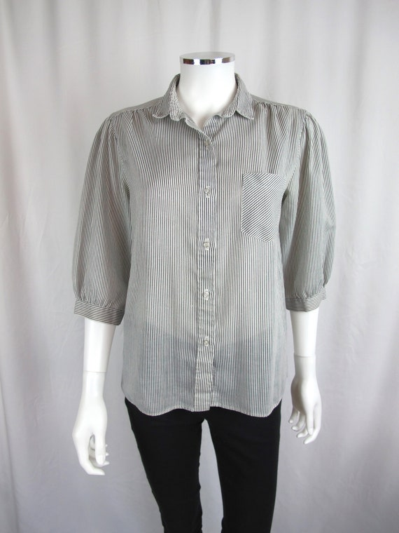 d98b9d04e3a Vintage 80s Baby Pinstripe Black and White Button Up Top Blouse Shirt