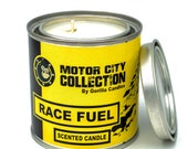 Race Fuel Scented Candle - Car Guy Themed Candles - Motor City Candles, 8 ounce Soy Wax Paint Can Candle