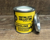 Gasoline Scented Candle - Car Guy Themed Candles - Motor City Candles, 8 ounce Soy Wax Paint Can Candle