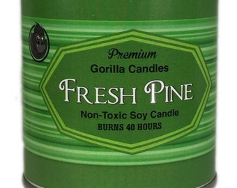 Fresh Pine Tree Candle 1/2 pint paint can Man Candle Christmas, Holiday Candle