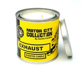 Exhaust Scented Candle - Car Guy Themed Candles - Motor City Candles, 8 ounce Soy Wax Paint Can Candle