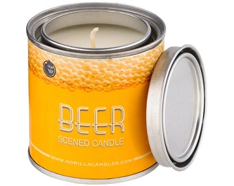 Beer Scented Candle Soy Wax Paint Can Man Candle