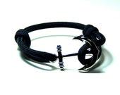 Nautical Anchor Bracelet Black Paracord Men Women Hand Made USA Adjustable