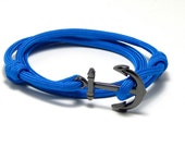 Nautical Anchor Bracelet Blue Paracord Men Women Hand Made USA Adjustable