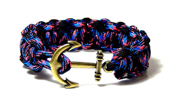 Nautical Anchor Bracelet Cobra Weave Paracord Silver Tone Anchor Hand Made USA 8