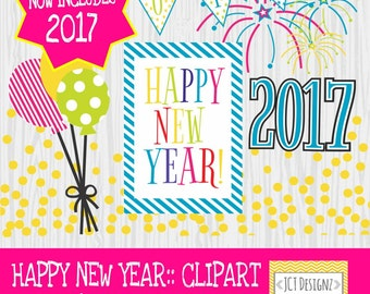 2017 new years clipart new years clip art happy new year colored version
