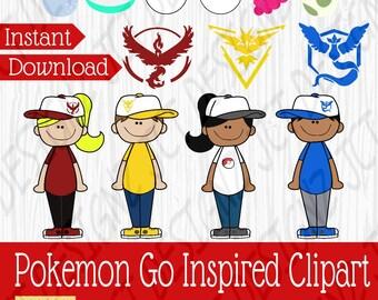 Pokemon GO Inspired Clipart, pokemon clipart, pokemon go, pokemon go art, pokemon art, instant download, cute pokemon clipart, cute pokemon