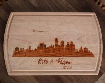 New York Hometown Chicago Skyline Personalized City Skyline Cutting Board Denver Skyline City Art Cityscape Miami Houston Skyline