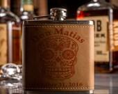 3 Custom Sugar Skull Flask- Dia De Los Muertos- Day Of The Dead Flask- Perfect for Weddings- Groomsman Gifts- Bridesmaids Gifts- Birthdays