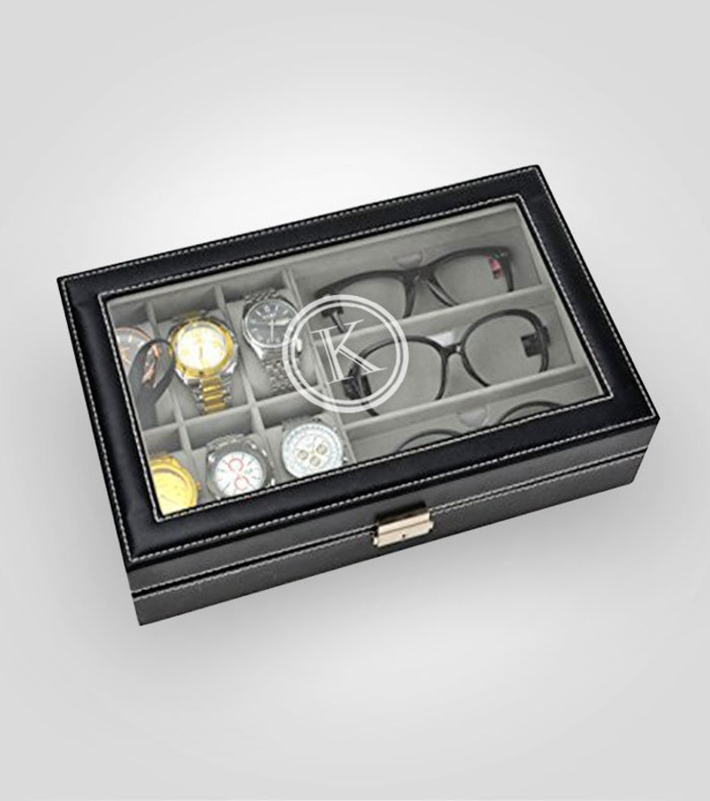 cd87e6143c17 Engraved Sunglass and Watch Box Holds 6 Watches and 3
