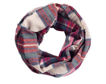 Monogram Scarf - Plaid Scarf - Gifts For Her - Infinity Scarf -Monogrammed Scarf-Personalized Scarf - Gifts For Her - Gifts Under 25 Dollars
