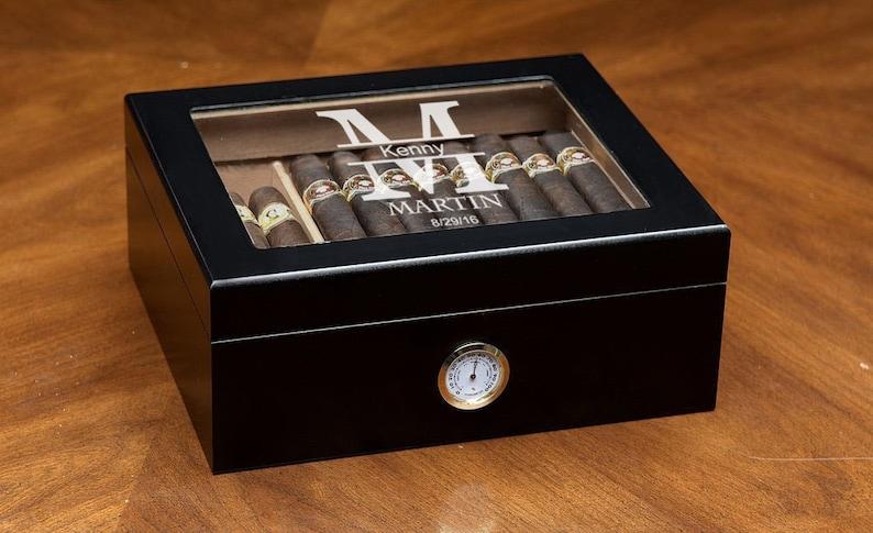 Engraved Humidor Cigar Lighter Personalized Cigar Humidor image 0