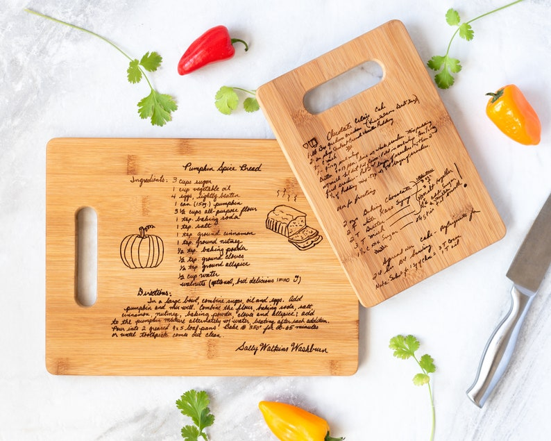 Custom Engraved Family Recipe Cutting Board Mother's Day image 0