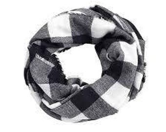 Monogram Scarf - Plaid Scarf - Black & White Scarf - Monogrammed Scarf - Personalized Scarf - Gifts For Her - Gifts Under 25 Dollars